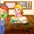 A girl and teacher in classroom - Image vectorielle