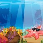 Starfish in water — Stock Vector