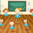 Girls in classroom — Vector de stock