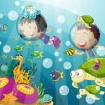 Tortoise and kids in deep water — Stock Vector #11300892