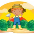 Boy working in farms - Stock Vector