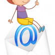 Boy sitting on mail envelop — Stock Vector #11300916