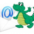 A crocodile with mail envelop — Stock Vector
