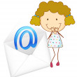 A girl with mail envelop - Stock Vector