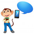 A monkey with cell phone — Stock Vector