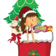 Girl celebrating christmas — Imagen vectorial
