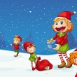 Kids celebrating christmas — Imagen vectorial