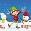 Boy celebrating christmas — Imagen vectorial