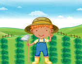 Boy working in farms — Stockvektor