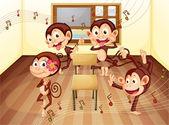 Monkeys in classroom — Stock Vector
