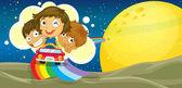 Kids driving car — Stock Vector