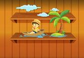 Boy boating on shelf — Stock Vector