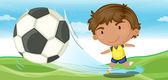 Boy playing football — Stock Vector