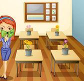 Girl in classroom — Stock Vector