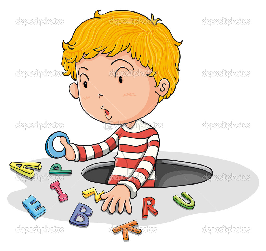 Illustration of a a boy with english letters — Stock Vector #11300964