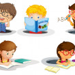 Kids studying - Stock Vector