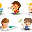 Vector de stock : Kids studying