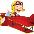 Monkey driving aircraft — Stock Vector
