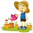 A girl watering plants — Vector de stock