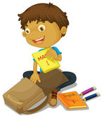 A boy filling schoolbag — Stock Vector