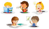 Kids studying — Stock Vector