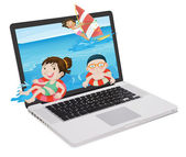 Laptop and kids — Stock Vector
