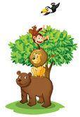 Animals under tree — Stock Vector