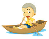 A boy in a boat — Stock Vector