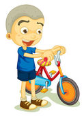 A boy playing bicycle — Stock Vector