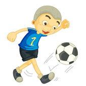 A boy playing football — Stock Vector