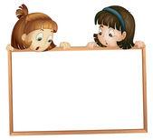 Girls showing board — Stock Vector