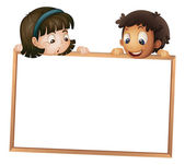 Kids showing board — Stock Vector