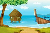 Huis op water — Stockvector