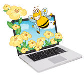 Laptop and bee, flowers — Stock Vector