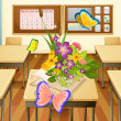 Butterflies in a classroom — Stock Vector