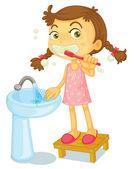 Una chica cepillarse los dientes — Vector de stock