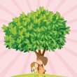 Kids playing under tree — Stock Vector
