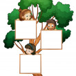 Kids on the tree with white board — Stock Vector #11518866