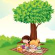 A boy and girl studying under tree — Stock vektor