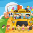 School school bus and kids — Stock Vector