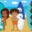 Stock Vector: A boy and girl with surf pad