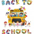 Stock Vector: School bus and english word back to school