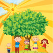Family under the tree — Stock Vector
