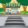 Family crossing road near coffee shop - Stock Vector