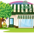 Stock Vector: A girl and tent coffee shop