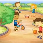 Kids playing in garden — Stock Vector #11519219