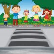 Family crossing road - Stock Vector