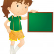 Girl showing board - Stock Vector