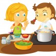 Stock Vector: Girls cooking food