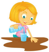 A girl pouring water in glass — Stock Vector